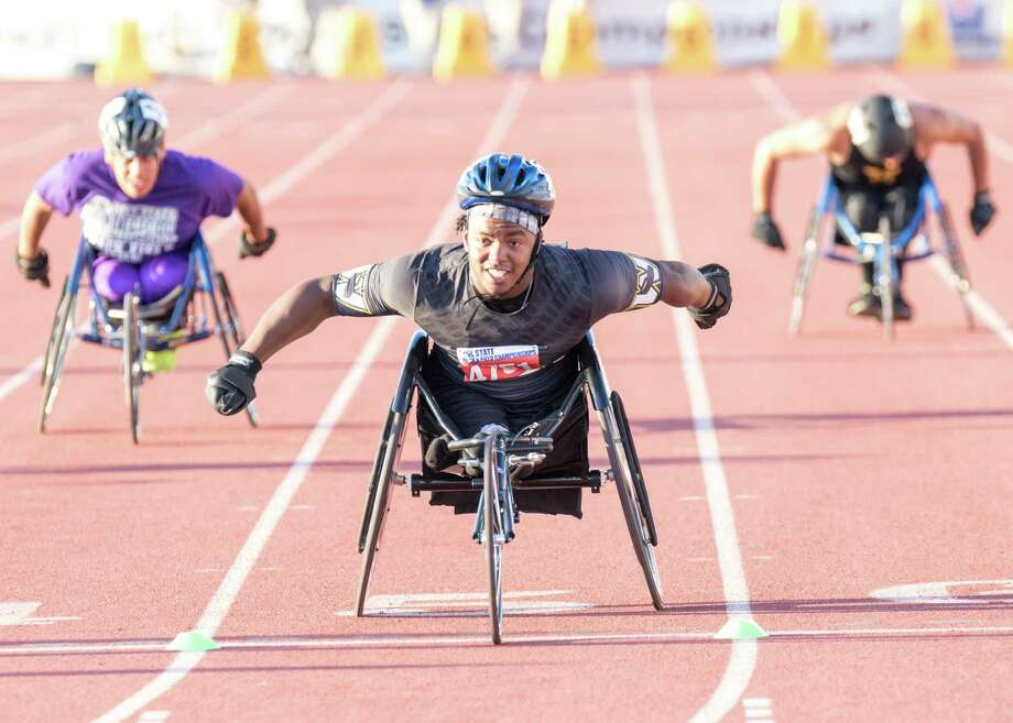 Carrtington Marendes of Woodville High School competes in the 100-meter wheelchair event at the UIL State Track and Field Meet at Mike A. Myers Stadium in Austin, Texas, on Friday, May 12, 2017. Photo: Scott W. Coleman / © 2017 Scott W. Coleman, all rights reserved.