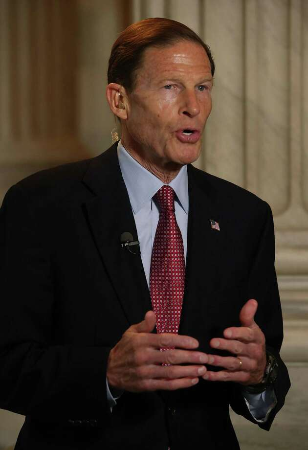 Sen. Richard Blumenthal, D-Conn., speaks on a morning television news show about President Trump's firing Tuesday of FBI Director James Comey, on Capitol Hill May 10, 2017 in Washington, DC. Photo: Mark Wilson / Getty Images / 2017 Getty Images
