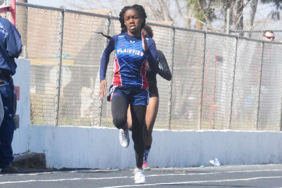 Plainview's Kaizha Roberts, shown competing at a track meet earlier this season, finished fourth in the 100-meter dash in 11.88 seconds at the UIL Class 5A State Track and Field Championships at Mike Myers Stadium in Austin Friday night. Roberts missed earning a medal by just two one-hundredths of a second. It was her fourth consecutive trip to the state meet. Photo: Skip Leon/Plainview Herald