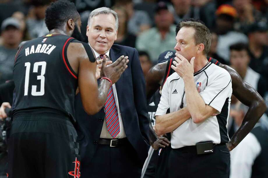 Houston Rockets head coach Mike D'Antoni and guard James Harden (13) talk to a referee during the second half of Game 2 of the second-round of the Western Conference NBA playoffs at AT&T Center,  Wednesday, May 3, 2017, in San Antonio. ( Karen Warren / Houston Chronicle ) Photo: Karen Warren, Staff Photographer / 2017 Houston Chronicle