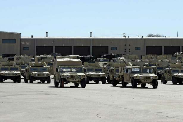 One of many motor pool holds hundreds of vehicles as facilities at Fort Hood are sceduled for renovation on February 15, 2017.