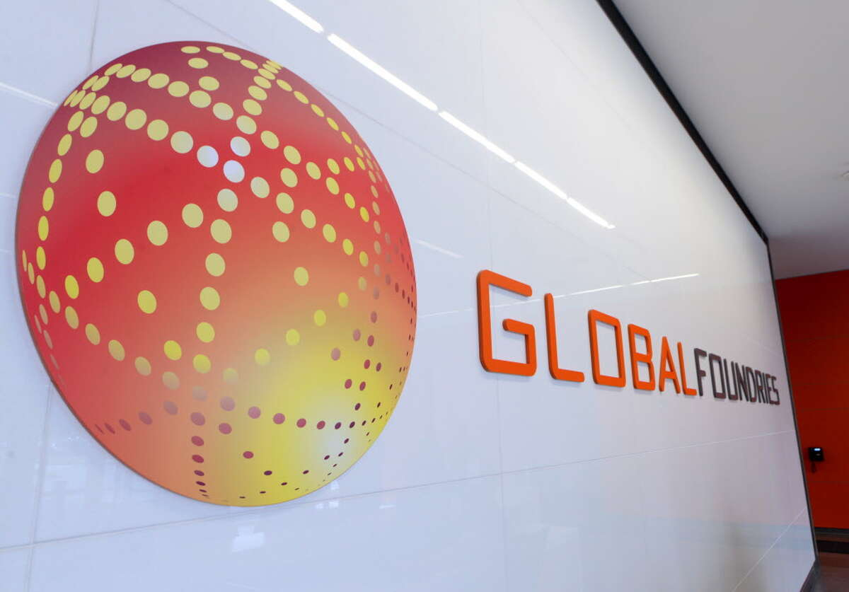 Lobby sign at GlobalFoundries computer chip factory Monday afternoon, Oct. 20, 2014, at Luther Forest Technology Campus in Malta, N.Y. (Will Waldron/Times Union)