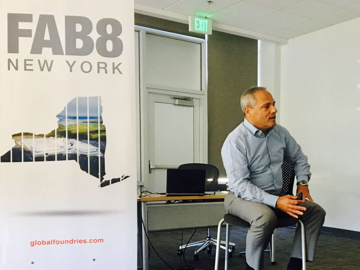 Tom Caulfield, general manager of Fab 8, talks about plans to make 7 nanometer chips. (Larry Rulison / Times Union)