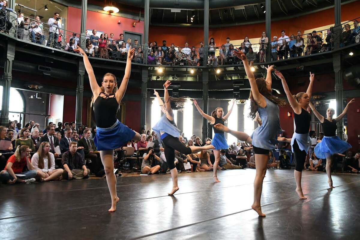 """More than 80 performers took to the stage in the Nott Memorial for the Lothridge Festival of Dance, presented each year at the Steinmetz symposium. Featured were works from the Winter Dance Concert, """"Beyond Steps."""" In addition, students from the Bhangra, Hip-Hop, Step and African Dance clubs, Terra Dance, the Dance Team and Just Queenin performed. (Union College)"""