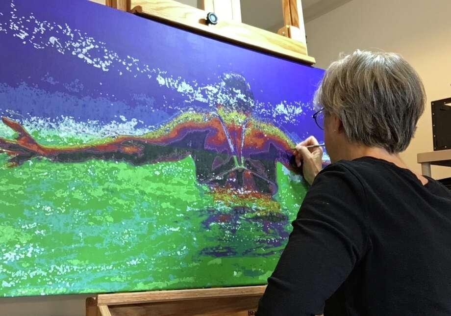 Karen Landrigan's artwork is influenced by the massive stroke she suffered. Photo: Courtesy