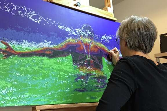 Karen Landrigan's artwork is influenced by the massive stroke she suffered.
