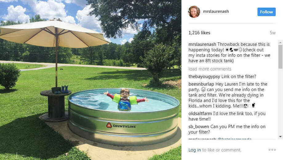 Stock tank pools are taking over social media as a cheap and easy way to get a backyard pool without the cost and time of an underground pool.Photo: #StockTankPool Instagram Photo: Instagram