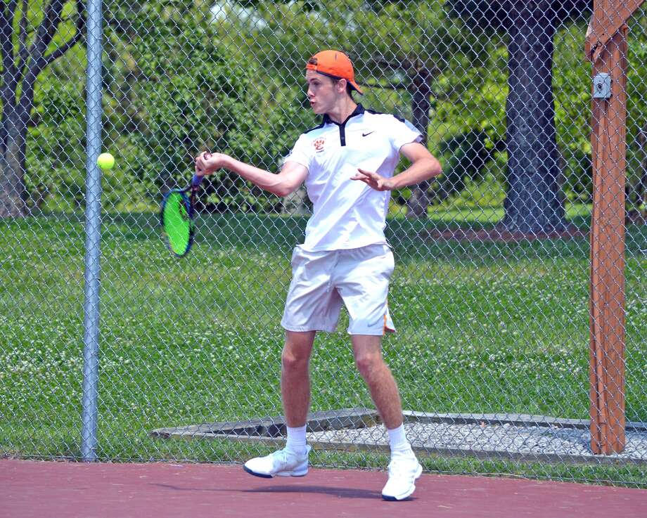 Edwardsville junior Alex Gray hits a forehand during the title match at No. 2 singles.
