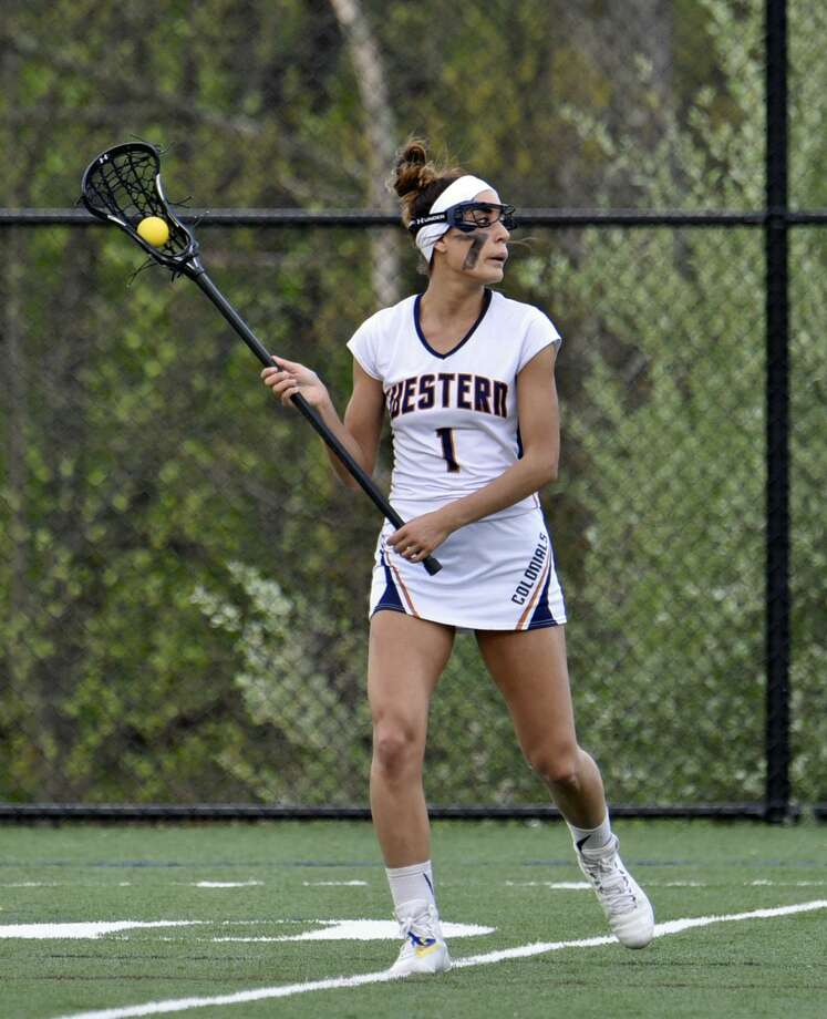 New Milford native and WestConn senior Destinee Carey broke the school's record for career goals and points this season. Photo: Contributed / Photo / WCSU