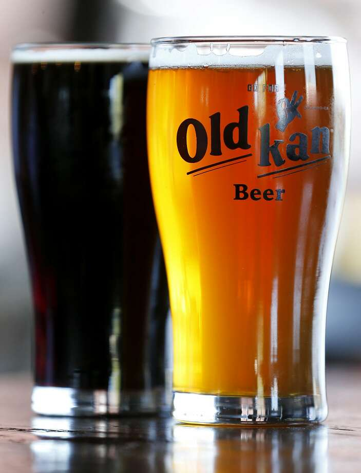 Pints of Old Kan Dark and Original beers at Old Kan Beer & Co. in Oakland. Photo: Paul Chinn, The Chronicle