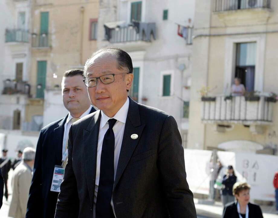 President of the World Bank Jim Yong Kim arrives on the last day of a G7 of Finance ministers, in Bari, southern Italy, Saturday, May 13, 2017. (AP Photo/Andrew Medichini) Photo: Andrew Medichini, STF / Copyright 2017 The Associated Press. All rights reserved.