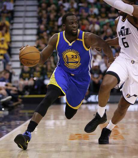 Golden State Warriors' Draymond Green (23) dribbles against Utah Jazz's Joe Johnson (6) in the second quarter of Game 4 of the NBA Western Conference semifinals on Monday, May 8, 2017 at Vivint Smart Home Arena in Salt Lake City, Utah. (Nhat V. Meyer/Bay Area News Group/TNS) Photo: Nhat V. Meyer, MBR / TNS / San Jose Mercury News