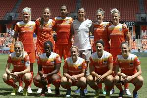 Houston Dash starting lineup pose for a photo before taking on Sky Blue FC at BBVA Compass Stadium Saturday, May 13, 2017, in Houston. ( Yi-Chin Lee / Houston Chronicle )