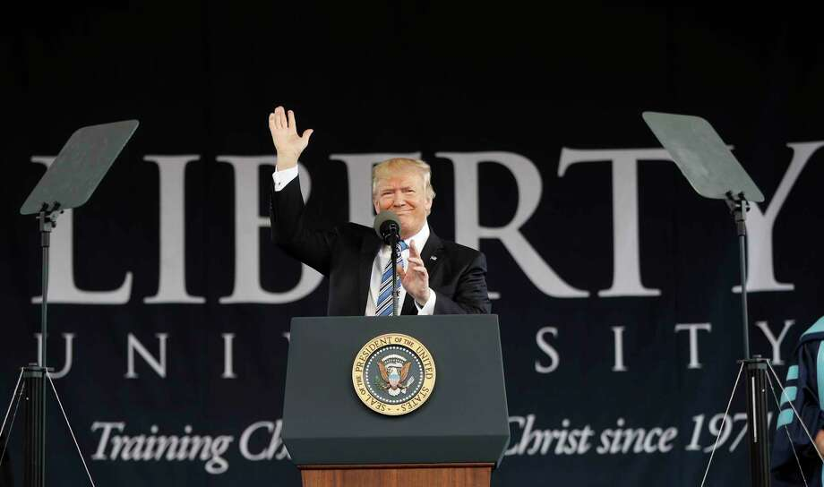 President Donald Trump gives the commencement address for the Class of 2017 at Liberty University in Lynchburg, Va., Saturday, May 13, 2017. (AP Photo/Pablo Martinez Monsivais) Photo: Pablo Martinez Monsivais, STF / Copyright 2017 The Associated Press. All rights reserved.