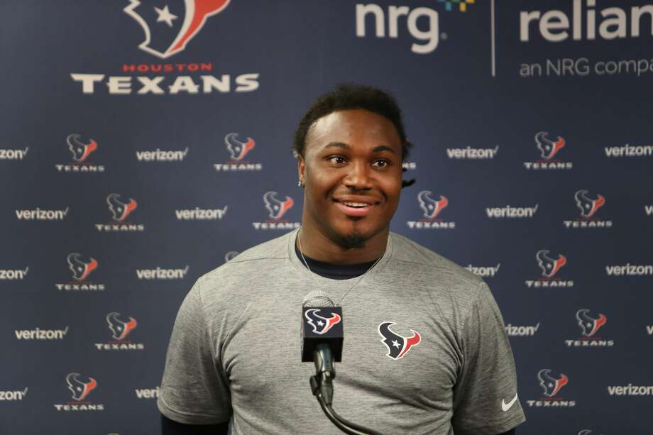 D'Onta Foreman, running back from Texas talks to reporters during Texans rookie camp in the NRG media room Saturday, May 13, 2017, in Houston. ( Steve Gonzales  / Houston Chronicle ) Photo: Steve Gonzales/Houston Chronicle