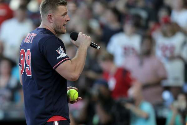Houston Texans defensive end J.J. Watt (99) addresses the attendees to his 5th annual celebrity charity baseball game at Minute Maid Field on Saturday, May 13, 2017, in Houston. ( Elizabeth Conley / Houston Chronicle )
