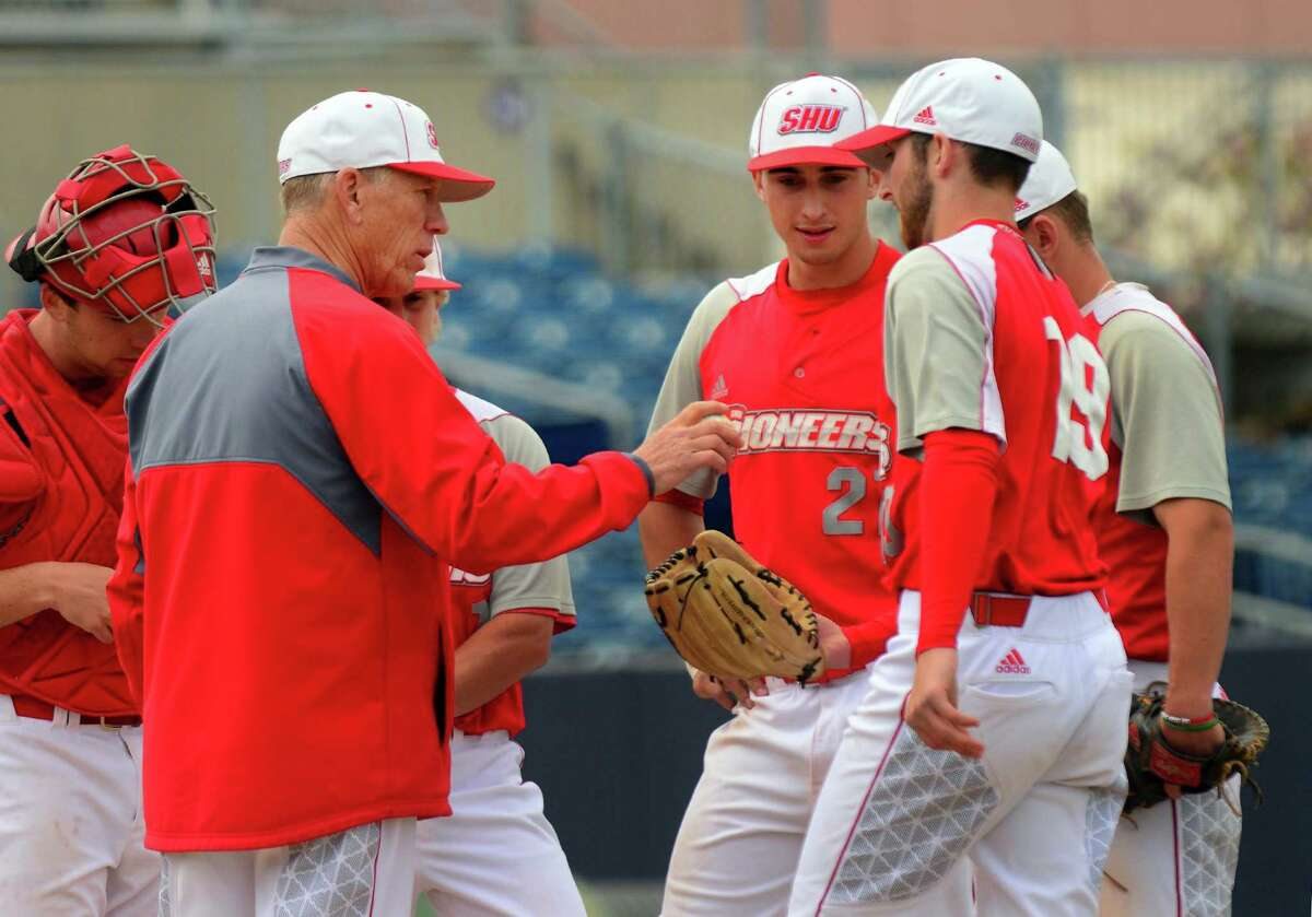 SHU Head Coach Nick Giaquinto puts in new pitcher during a game against Bryant University at the Ballpark at Harbor Yard in Bridgeport, Conn. on Thursday May 11, 2017. This will be coach Gianquinto's final season.