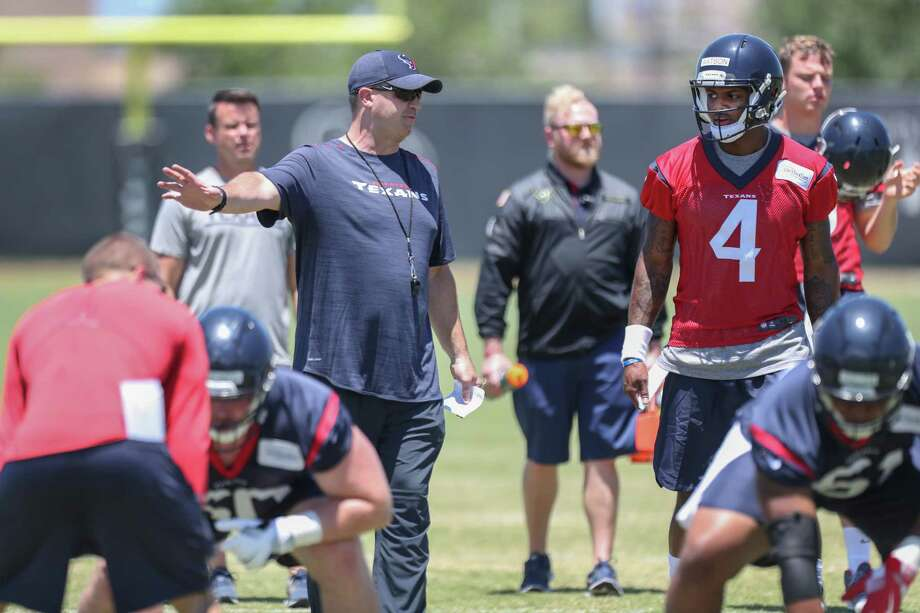 Texans coach Bill O'Brien, left, spent the past three days coaching quarterback Deshaun Watson,right, in meetings and on the field at the team's rookie minicamp. Photo: Steve Gonzales, Staff / © 2017 Houston Chronicle