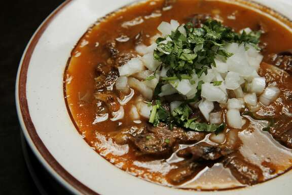 Birria is seen at El Potrillo restaurant on Saturday, May 13, 2017, in Oakland, Calif. Birria is a Mexican spicy stew traditionally made from goat meat. The restaurant is located at 400 29th Ave.