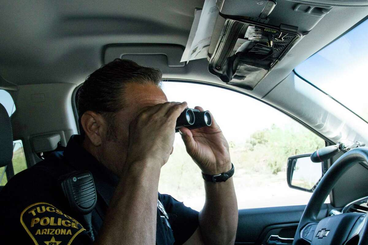 Tucson LPO (Lead Police Officer) Jose Flores, during his patrol at T1 South Tucson neighborhood which is densely populated by Latinos.