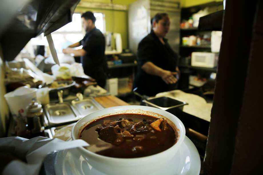 At La Casita taqueria, a bowl of birria waits to be delivered. Photo: Santiago Mejia, The Chronicle