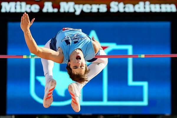 Johnson's Jack Scarborough attempts 6 feet, 9 inches in the 6A boys high jump during the UIL state track and field meet at Mike Myers Stadium in Austin on Saturday, May 13, 2017. Scarborough finished third with a jump of 6 feet, 8 inches.  MARVIN PFEIFFER/ mpfeiffer@express-news.net