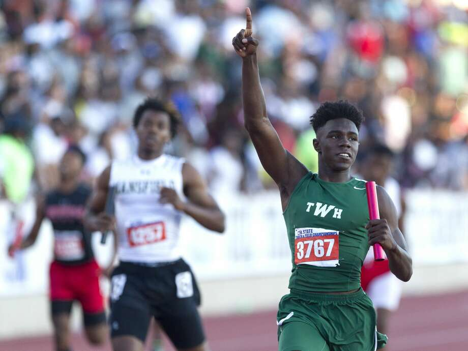 Kesean Carter of The Woodlands celebrates after winning the 6A boys 4x200 meter relay during the UIL State Track & Field Championships, Saturday, May 13, 2017, in Austin. Photo: Jason Fochtman/Houston Chronicle