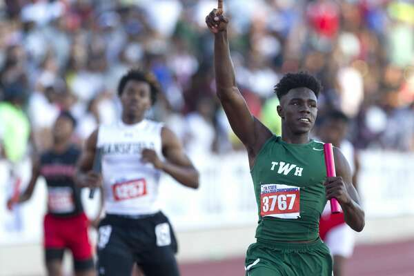 Kesean Carter of The Woodlands celebrates after winning the 6A boys 4x200 meter relay during the UIL State Track & Field Championships, Saturday, May 13, 2017, in Austin.