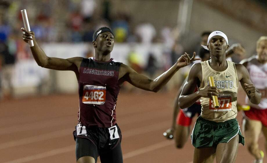 Champion Allison of George Ranch celebrates after defeating Desoto to win the 6A boys 4x400 meter relay during the UIL State Track & Field Championships, Saturday, May 13, 2017, in Austin. Photo: Jason Fochtman/Houston Chronicle