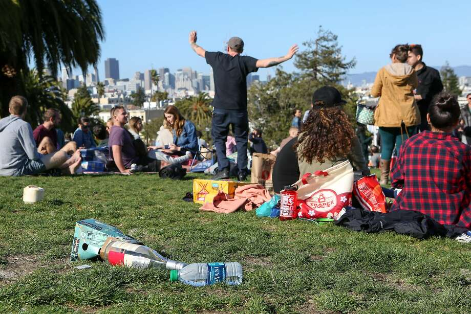 A pile of garbage left by park go-ers is seen in Dolores Park on Saturday, May 13, 2017 in San Francisco, Calif. Photo: Amy Osborne, Special To The Chronicle