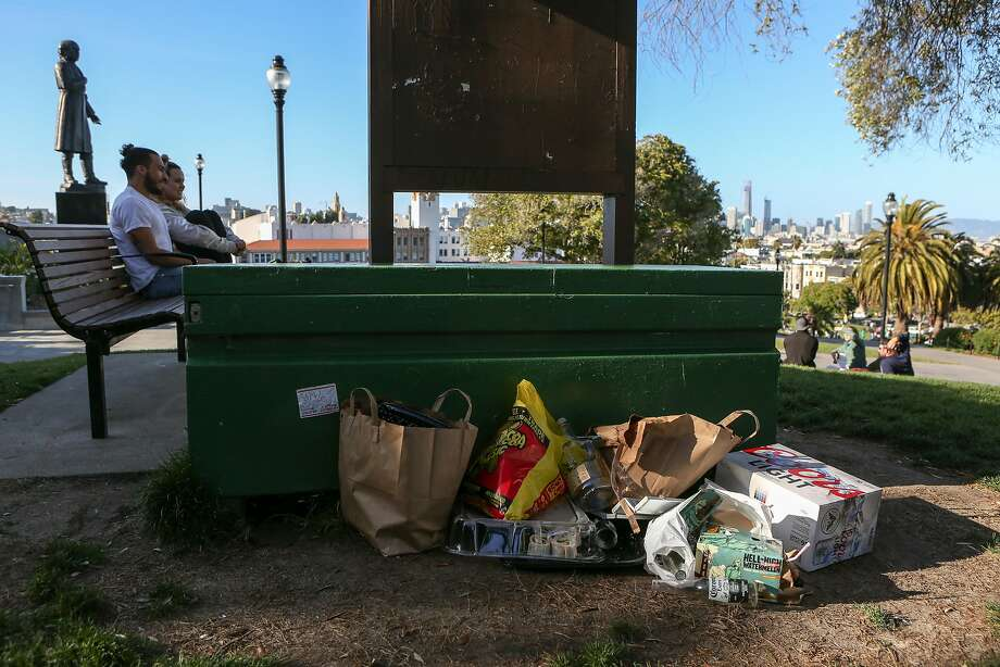 Garbage left by park go-ers is seen in Dolores Park on Saturday, May 13, 2017 in San Francisco, Calif. Photo: Amy Osborne, Special To The Chronicle