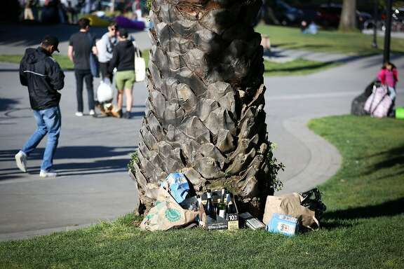 Garbage piles left by park go-ers are seen throughout Dolores Park on Saturday, May 13, 2017 in San Francisco, Calif.