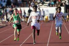 Kaylon Barnes of Silsbee High School runs in the Class 4A 100-meter dash event at the UIL State Track and Field Meet at Mike A. Myers Stadium in Austin, Texas, on Saturday, May 13, 2017.