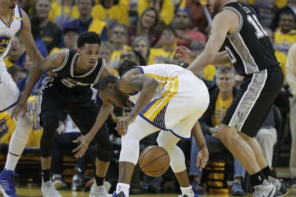 Golden State Warriors' Andre Iguodala loses the handle on the ball in the first quarter during Game 1 of the 2017 NBA Playoffs Western Conference Finals at Oracle Arena on Sunday, May 14, 2017 in Oakland, Calif.