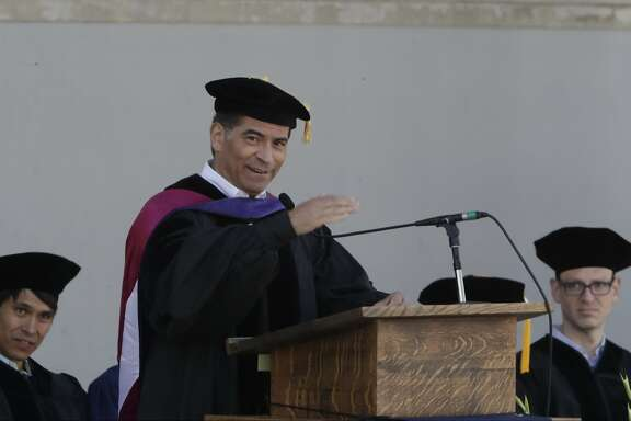 California Attorney General Xavier Becerra speaks to graduating political science students at Cal on Sunday, May 14, 2017 in Berkeley, CA.