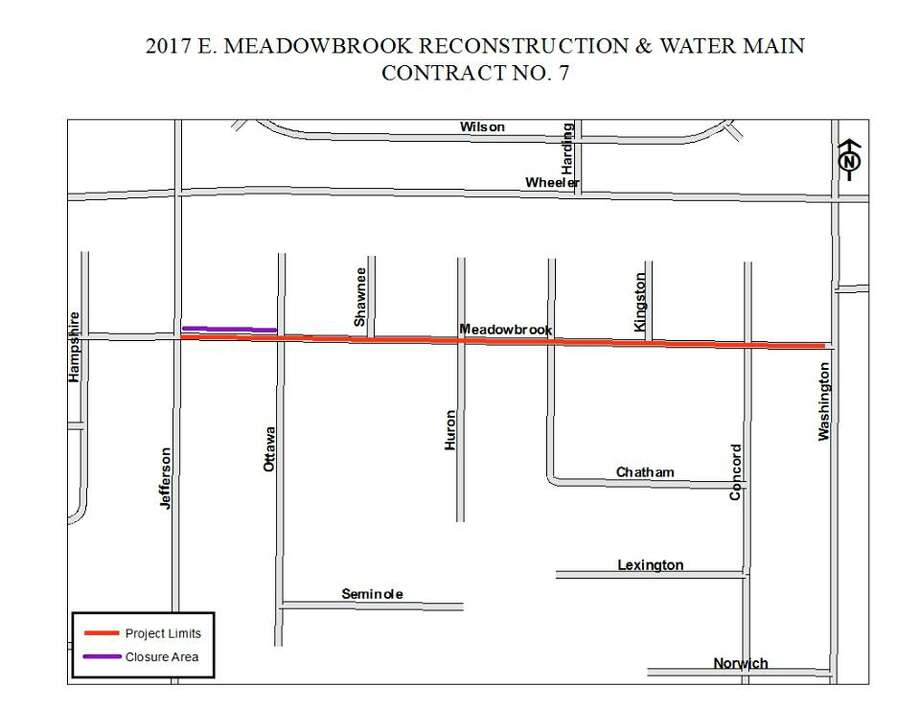 A portion of East Meadowbrook Drive will be closed beginning Monday, as  construction crews perform a water main installation at the intersection  with Jefferson Avenue. Photo: Courtesy