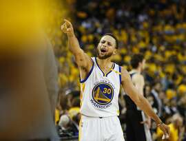 Golden State Warriors' Stephen Curry reacts in the fourth quarter during Game 1 of the 2017 NBA Playoffs Western Conference Finals at Oracle Arena on Sunday, May 14, 2017 in Oakland, Calif.