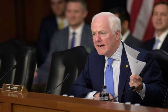 Senate Judiciary Committee member Sen. John Cornyn, R-Texas questions Supreme Court Justice nominee Neil Gorsuch on Capitol Hill in Washington, Tuesday, March 21, 2017, during Gorsuch's confirmation hearing before the committee. (AP Photo/Susan Walsh)