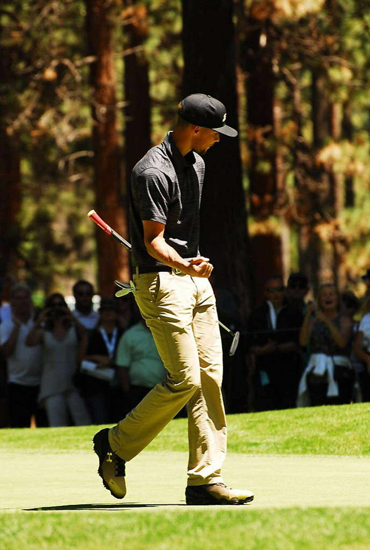 Stephen Curry, Justin Timberlake and Alfonso Ribeiro played golf in front of �big crowds at the American Century Championship at Edgewood Tahoe Golf course in Stateline, Nev., on July 23. The trip played a lot of golf and found time to ham it up, too, especially on the tournament's raucous 17th hole, which runs alongside Lake Tahoe.