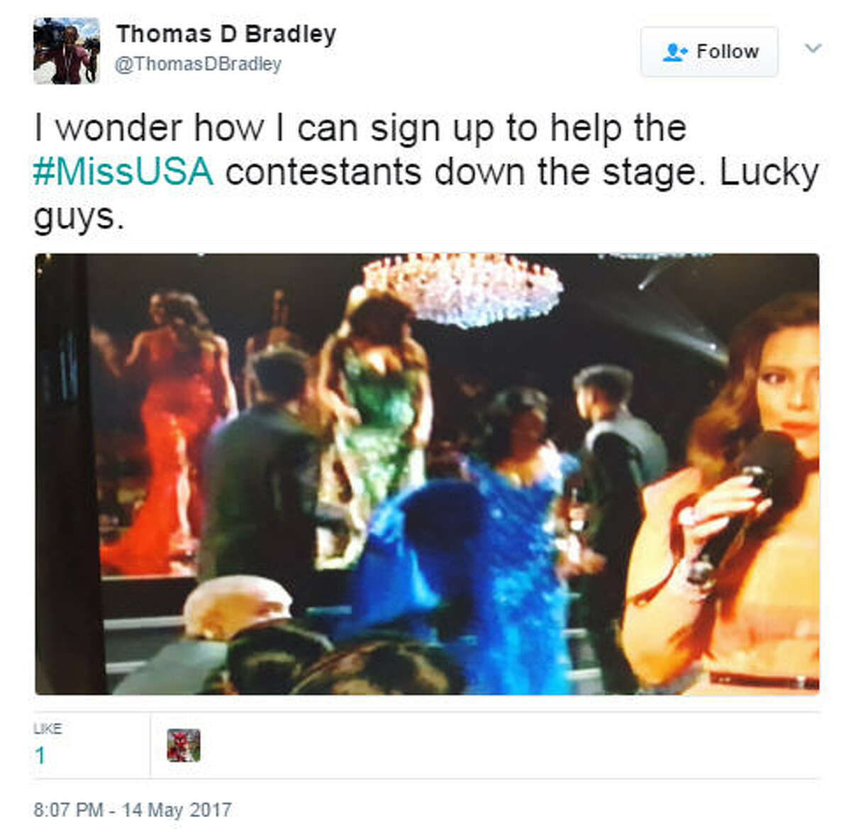 I wonder how I can sign up to help the #MissUSA contestants down the stage. Lucky guys.Source: Twitter