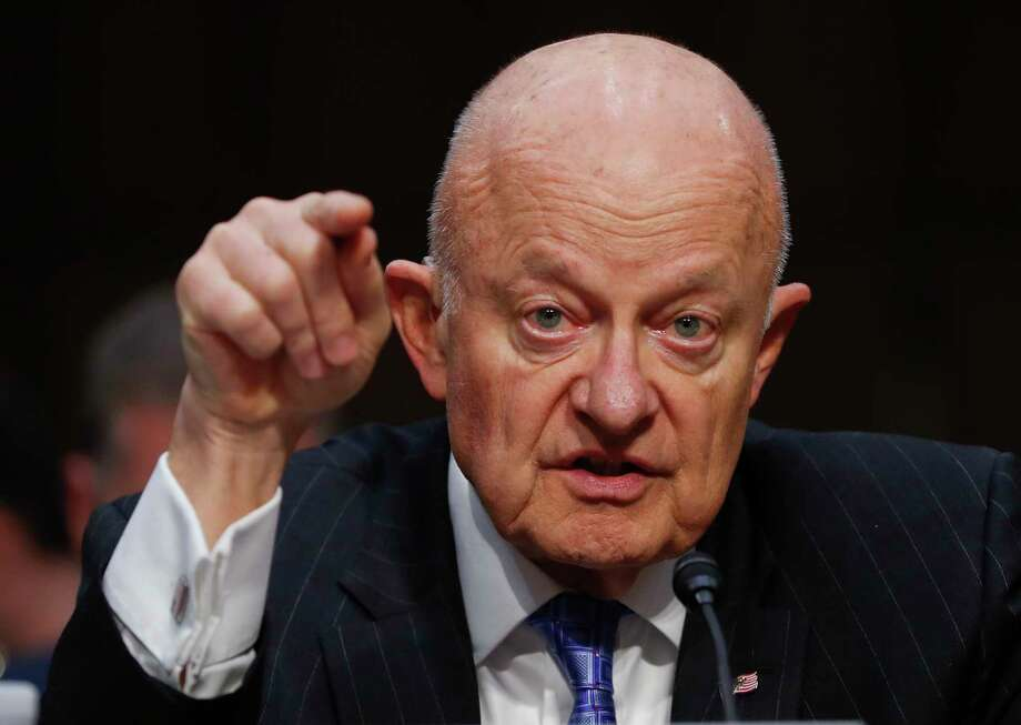 "FILE - In this Monday, May 8, 2017, file photo, former National Intelligence Director James Clapper testifies on Capitol Hill in Washington, before the Senate Judiciary subcommittee on Crime and Terrorism hearing: ""Russian Interference in the 2016 United States Election."" Clapper on Sunday, May 14, described a U.S. government ""under assault"" after President Donald Trump's controversial decision to fire FBI director James Comey, as lawmakers urged the president to select a new FBI director free of any political stigma. (AP Photo/Pablo Martinez Monsivais, File) ORG XMIT: NYAG704 Photo: Pablo Martinez Monsivais / Copyright 2017 The Associated Press. All rights reserved."