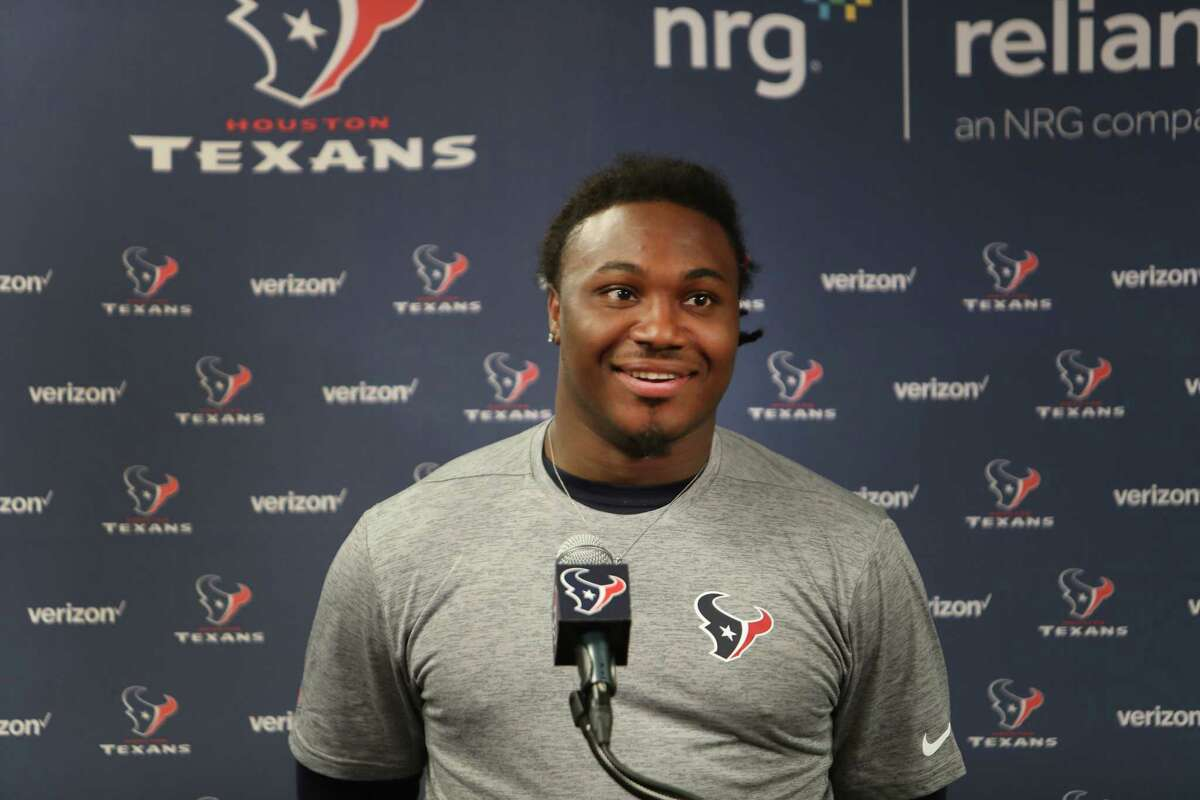 D'Onta Foreman, running back from Texas talks to reporters during Texans rookie camp in the NRG media room Saturday, May 13, 2017, in Houston. ( Steve Gonzales / Houston Chronicle )