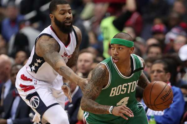 WASHINGTON, DC - MAY 12:  Isaiah Thomas #4 of the Boston Celtics is defended by Markieff Morris #5 of the Washington Wizards during Game Six of the NBA Eastern Conference Semi-Finals at Verizon Center on May 12, 2017 in Washington, DC.  NOTE TO USER: User expressly acknowledges and agrees that, by downloading and or using this photograph, User is consenting to the terms and conditions of the Getty Images License Agreement.  (Photo by Rob Carr/Getty Images)