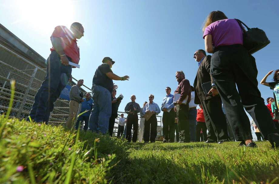 Pasadena Second Century Corp. members lead rodeo board members on a tour of improvements the city is hoping to make to the Pasadena Rodeo Arena before the rodeo in September. Photo: Mark Mulligan, Staff Photographer / 2017 Mark Mulligan / Houston Chronicle