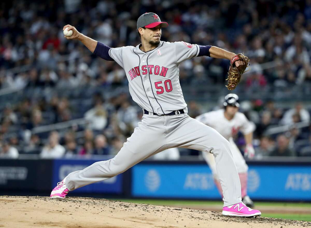 NEW YORK, NY - MAY 14: Charlie Morton #50 of the Houston Astros delivers a pitch in the first inning against the New York Yankees in Game 2 on May 14, 2017 at Yankee Stadium in the Bronx borough of New York City. (Photo by Elsa/Getty Images)