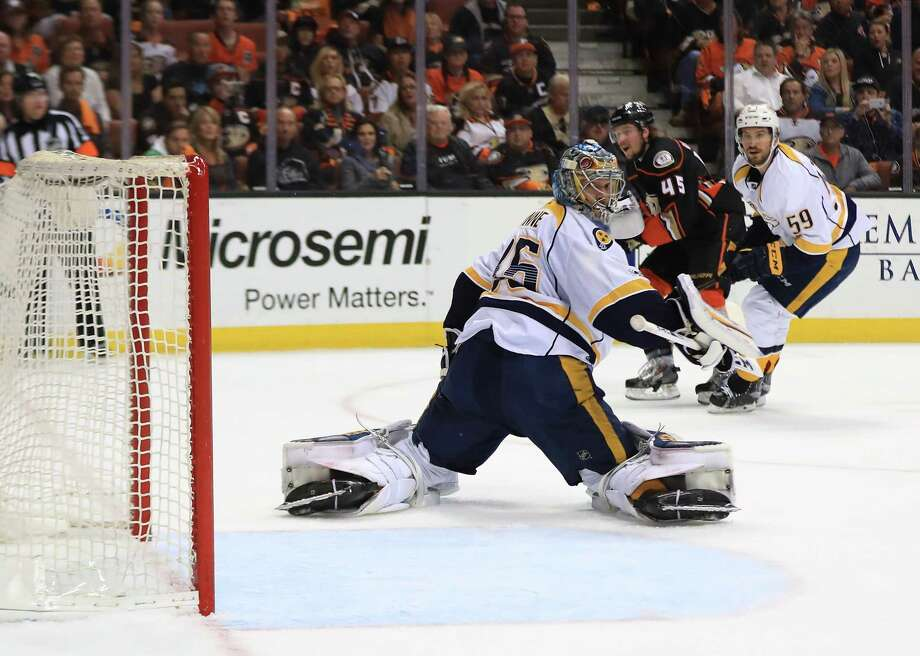 ANAHEIM, CA - MAY 14:  Goaltender Pekka Rinne #35 of the Nashville Predators can't make the save on a slapshot by Sami Vatanen #45 of the Anaheim Ducks in the first period of Game Two of the Western Conference Final during the 2017 Stanley Cup Playoffs at Honda Center on May 14, 2017 in Anaheim, California.  (Photo by Sean M. Haffey/Getty Images) ORG XMIT: 700047975 Photo: Sean M. Haffey / 2017 Getty Images