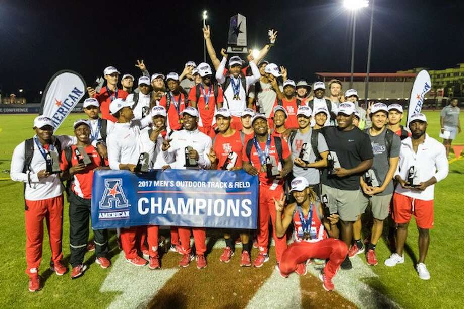 The UH track and field team after winning the 2017 American Athletic Conference men's outdoor track and field championship.  Photo: Joe Buvid