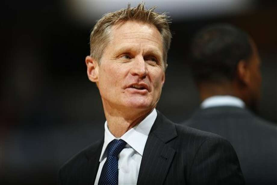 FILE - In this Feb. 13, 2017, file photo, Golden State Warriors head coach Steve Kerr looks on in the first half of an NBA basketball game against the Denver Nuggets in Denver. Ailing Kerr attended the Warriors' practice Saturday morning, May 13, 2017, returning to the floor for the first time in more than three weeks. (AP Photo/David Zalubowski, File) Photo: David Zalubowski, Associated Press