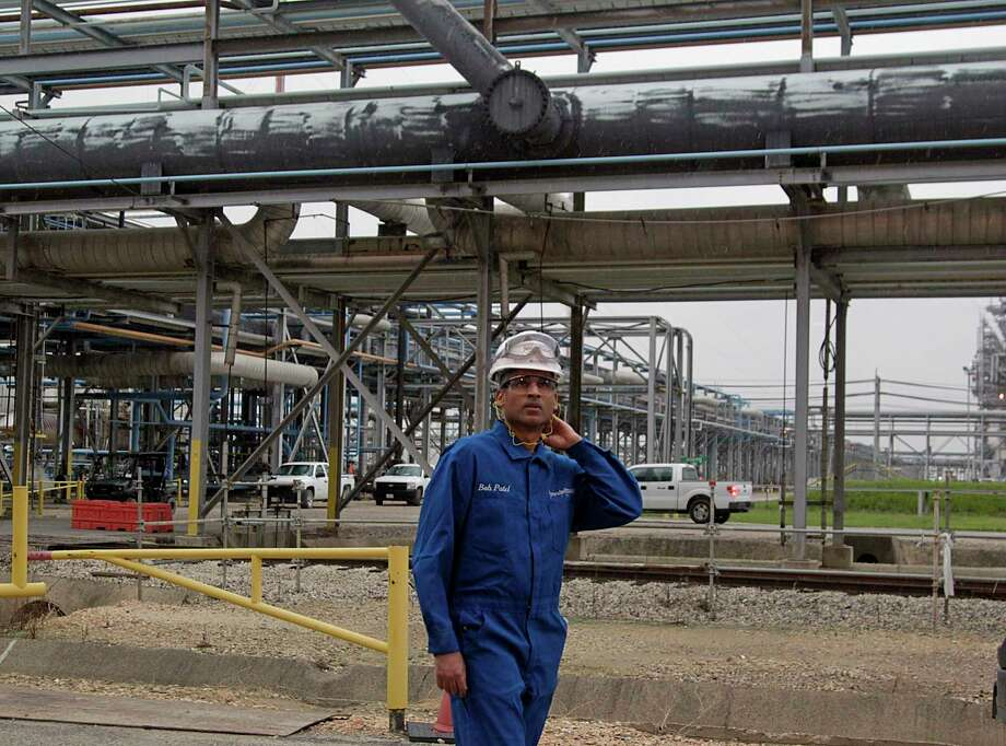 LyondellBasell CEO Bob Patel walks through the Olefins Plant of LyondellBasell Chemical Company during a tour Friday, Aug. 21, 2015, in Channelview. 