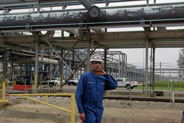 LyondellBasell CEO Bob Patel walks through the Olefins Plant of LyondellBasell Chemical Company during a tour Friday, Aug. 21, 2015, in Channelview.   ( James Nielsen / Houston Chronicle )